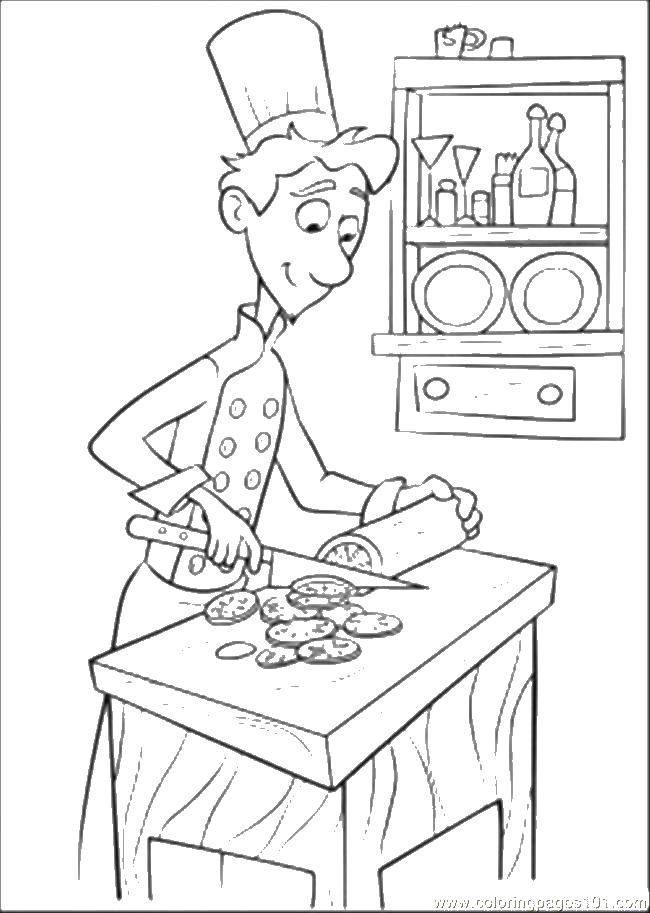 раскраски раскраска повар режет колбасу скачать