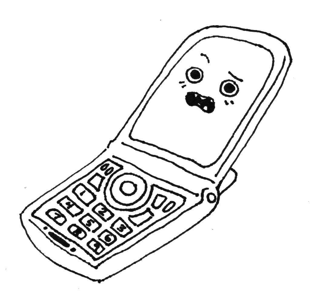 Название: Раскраска Сотовый. Категория: телефон. Теги: Техника.
