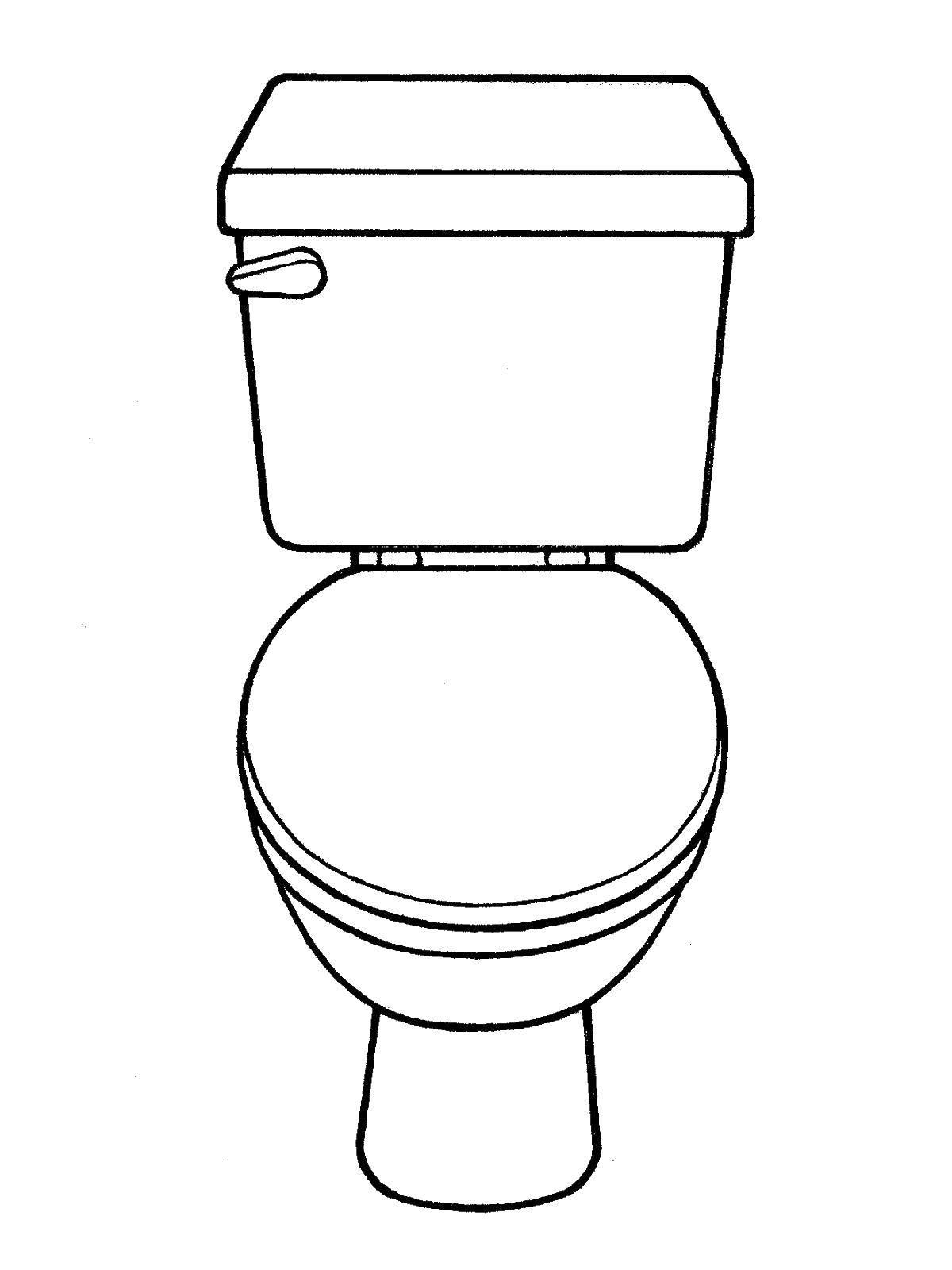 Раскраска Ванная комната Скачать ,Туалет,.  Распечатать