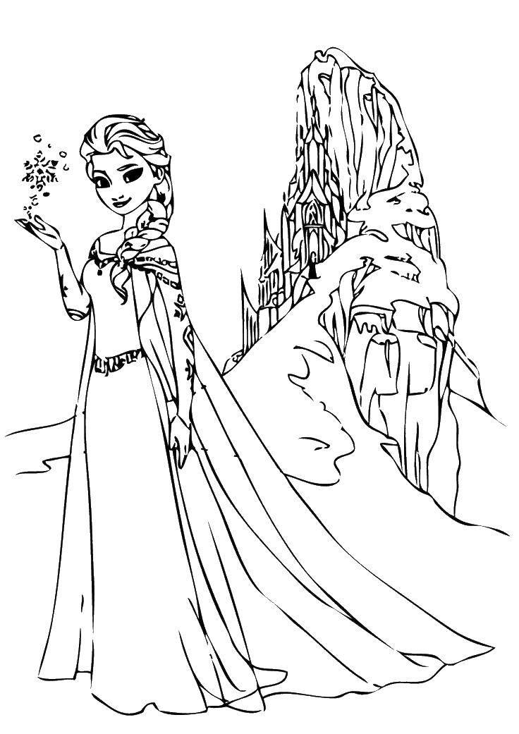 Раскраска Эльза из мультфильма холодное сердце  Скачать Дисней, Эльза, Холодное сердце, принцесса.  Распечатать ,Диснеевские мультфильмы,