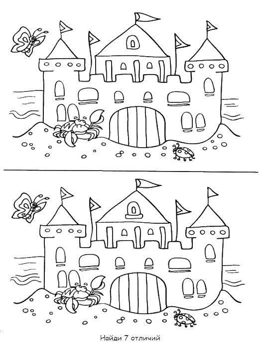 Раскраска Красивый замок из песка с башнями и флажками, рядом ползет краб, летает бабочка и сидит божья коровка. Скачать замок, пляж, краб, бабочка, божья коровка.  Распечатать ,замки,