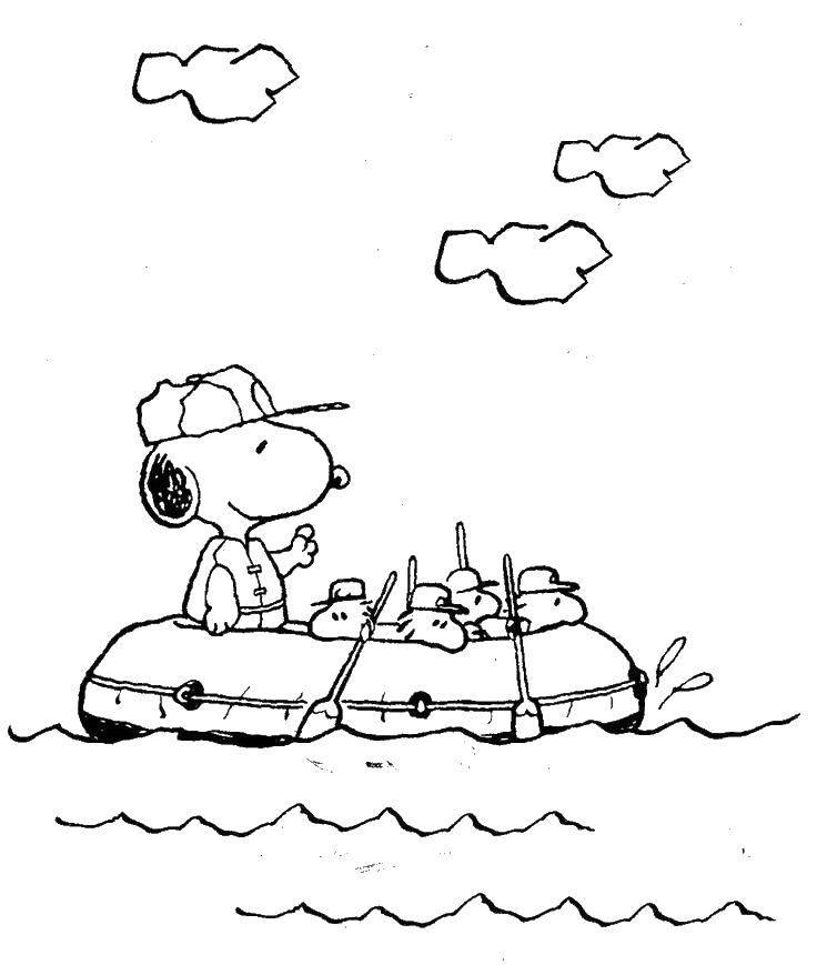 Раскраска Снупи в лодке Скачать снупи, лодка.  Распечатать ,снупи,