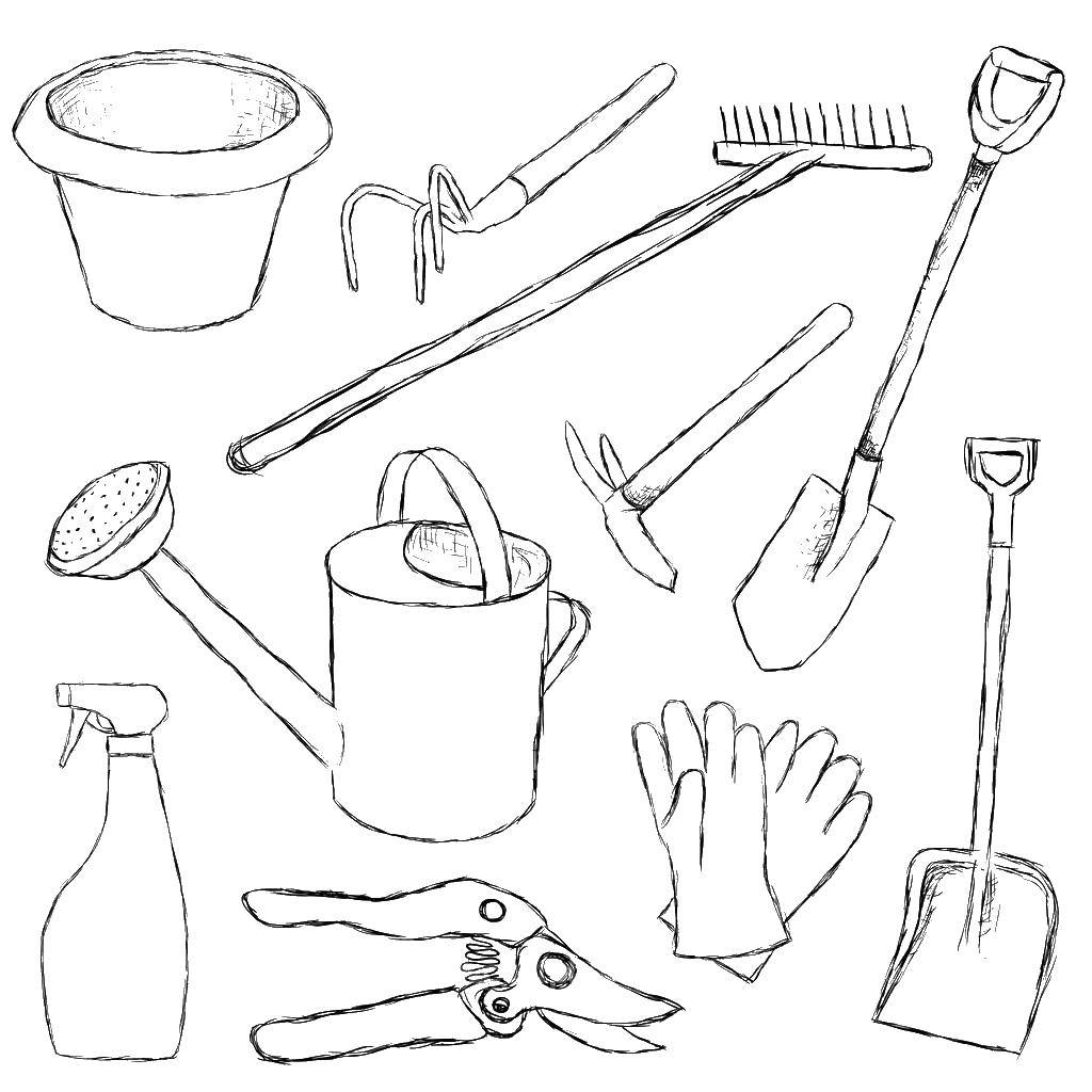 Раскраска Инструменты для сада Скачать сад, инструменты.  Распечатать ,инструменты,