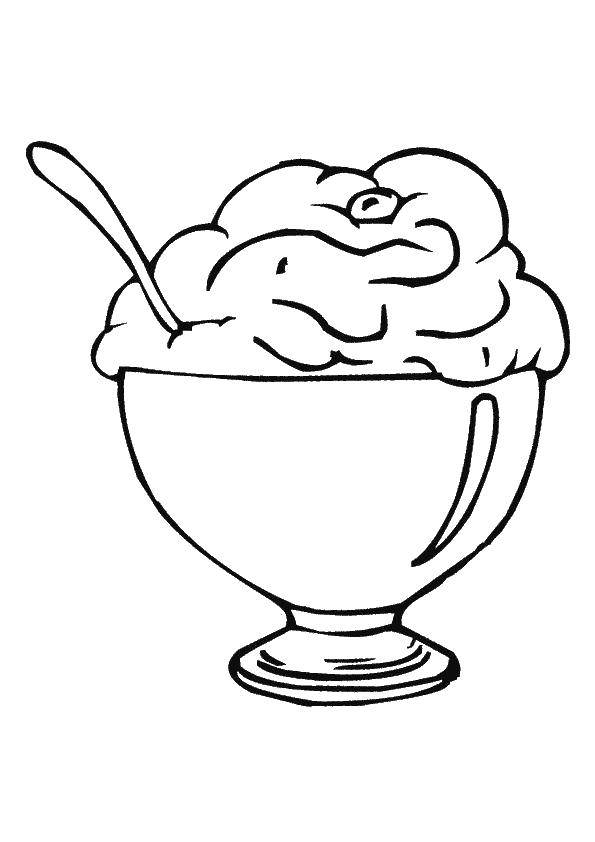 Online coloring pages Coloring page Ice cream in a bowl ice cream ...