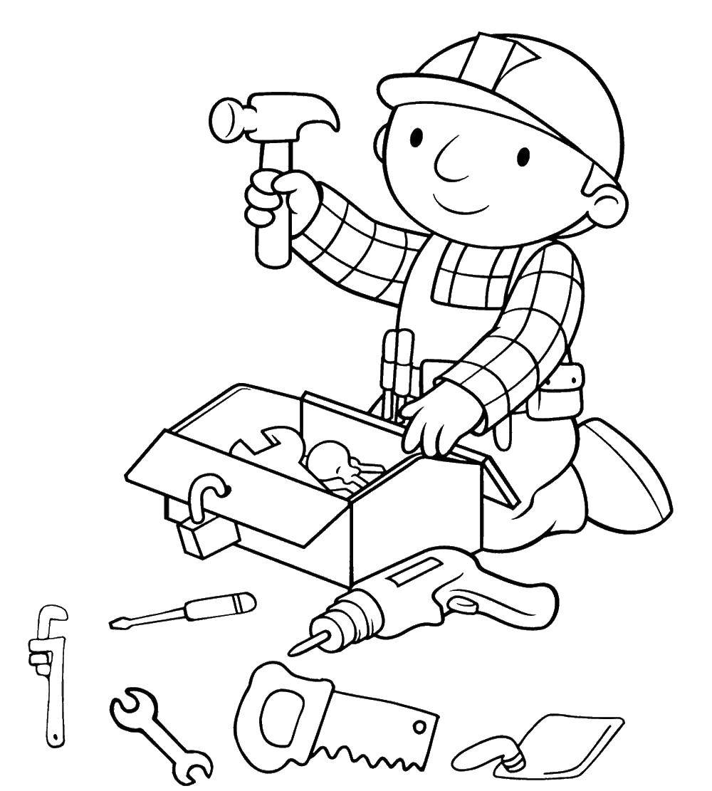 Раскраска строительные инструменты Скачать ,строитель, инструменты,.  Распечатать