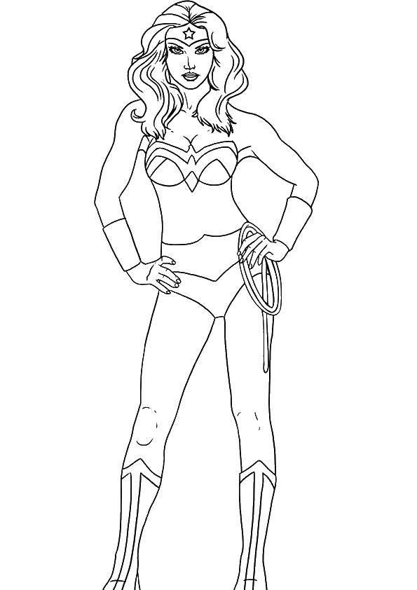 Раскраска Девушка супергерой Скачать супергерои, девочки.  Распечатать ,супергерои,