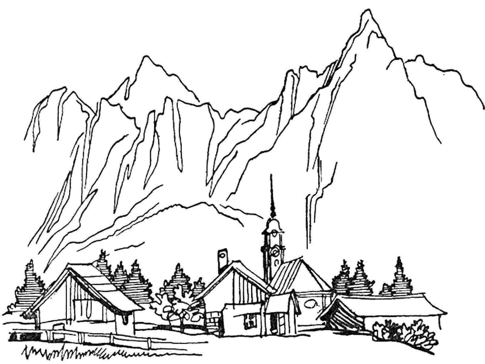 Раскраска Город в горах Скачать город, горы, дома, деревья.  Распечатать ,природа,