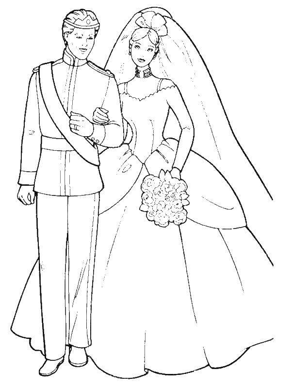 Раскраска Свадьба барби и кен Скачать ,барби, Кен, свадьба,.  Распечатать