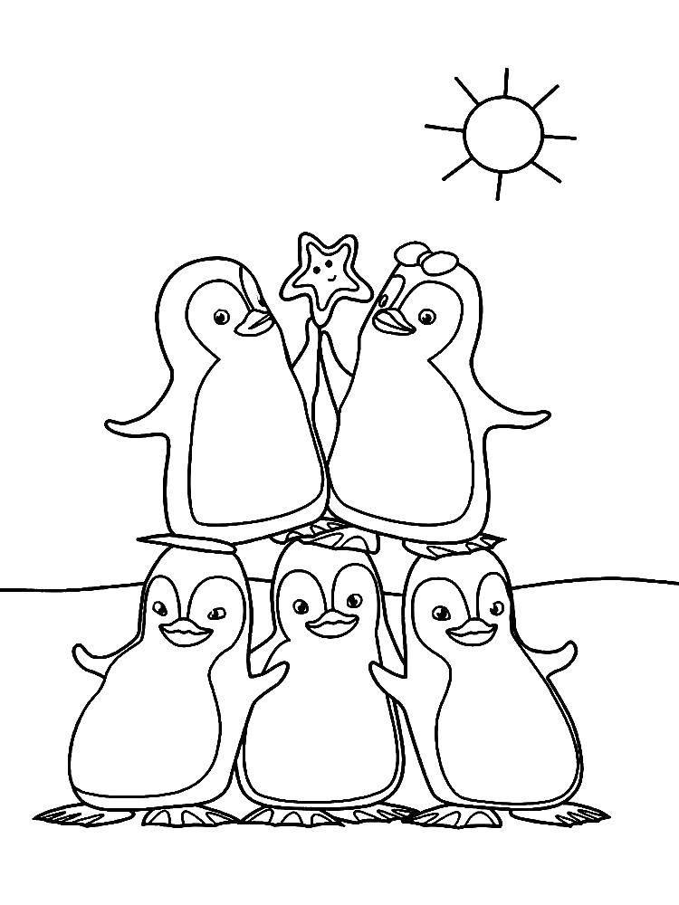 Раскраска пингвин Скачать мультфильмы, черепашки ниндзя.  Распечатать ,черепашки ниндзя,
