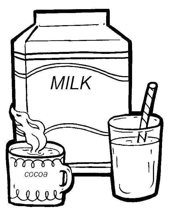 Раскраска Молоко и какао Скачать молоко, какао.  Распечатать ,Молоко,