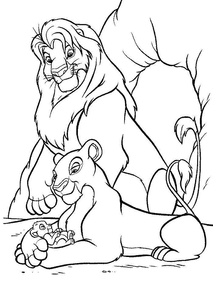 Раскраска Король лев Скачать Дисней, Король Лев.  Распечатать ,мультик,