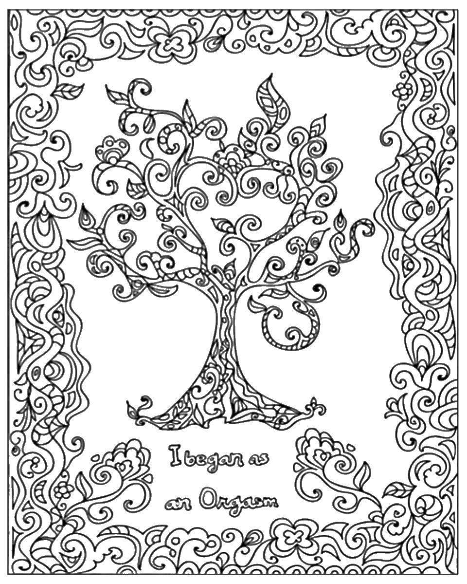 Раскраска Узорное деревце Скачать Узоры, этнические.  Распечатать ,узоры,