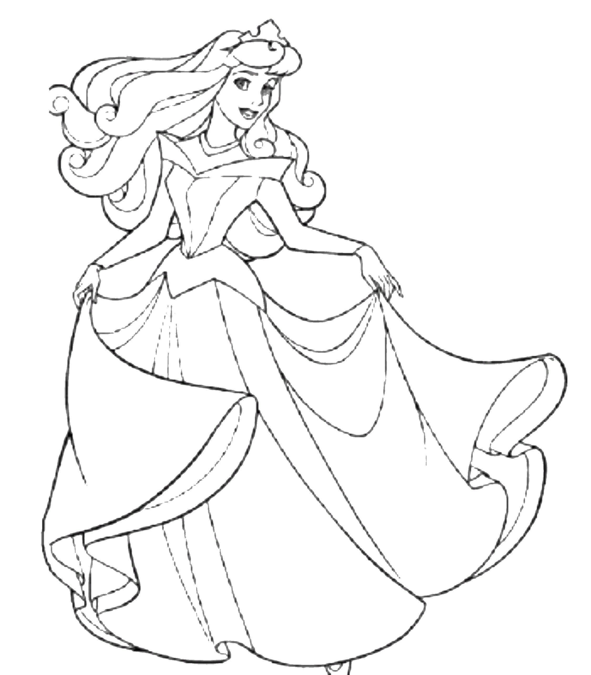 Раскраска спящая красавица Скачать ,принцессы, аврора,.  Распечатать