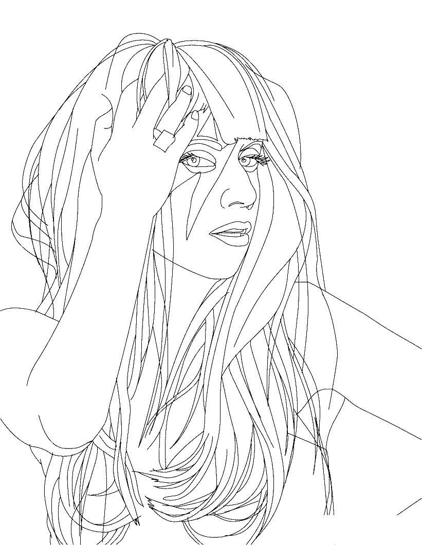 Раскраска Девушка делает прическу Скачать прическа, девочка.  Распечатать ,Прически,