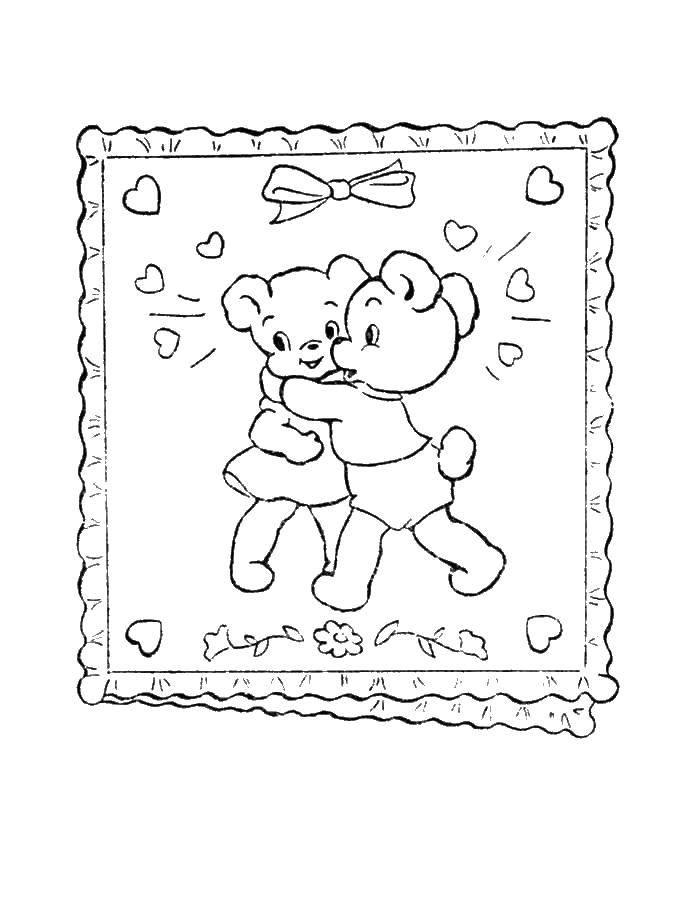 Раскраска Медвежата обнимаются Скачать медведи.  Распечатать ,Животные,