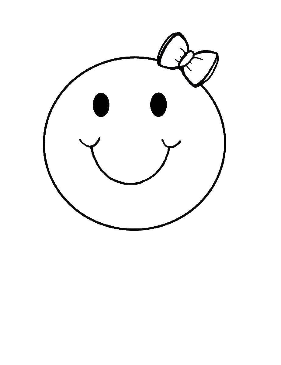 Раскраска Смайлик с бантиком Скачать смайлик, бантик.  Распечатать ,смайлики,