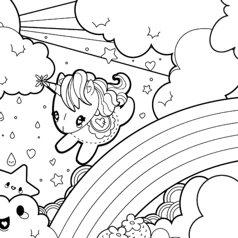 Раскраска Единорог на радуге Скачать единорог, пони.  Распечатать ,Волшебные создания,