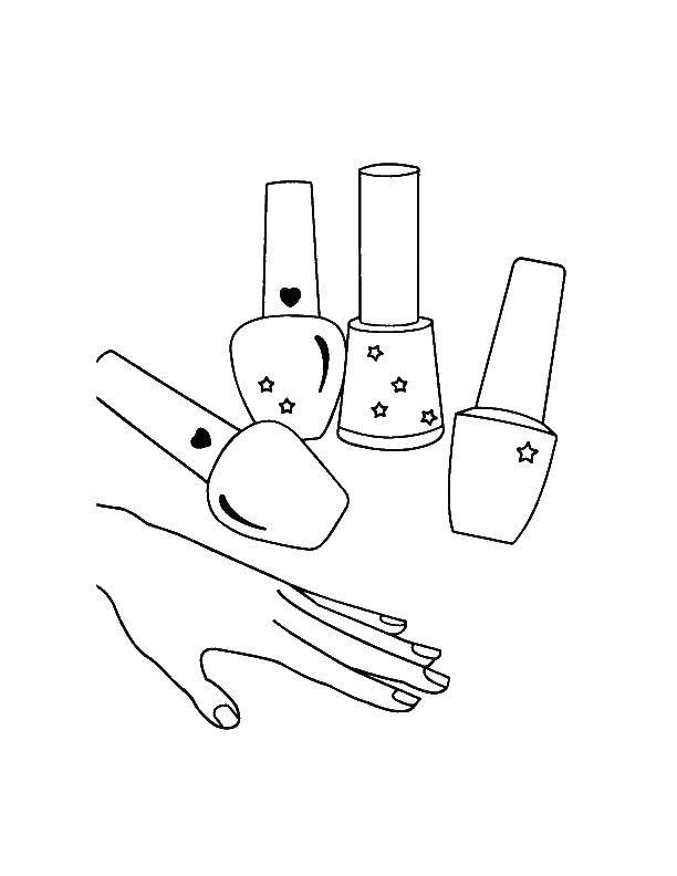 Раскраска Лаки для ногтей. Скачать Макияж.  Распечатать ,Макияж,