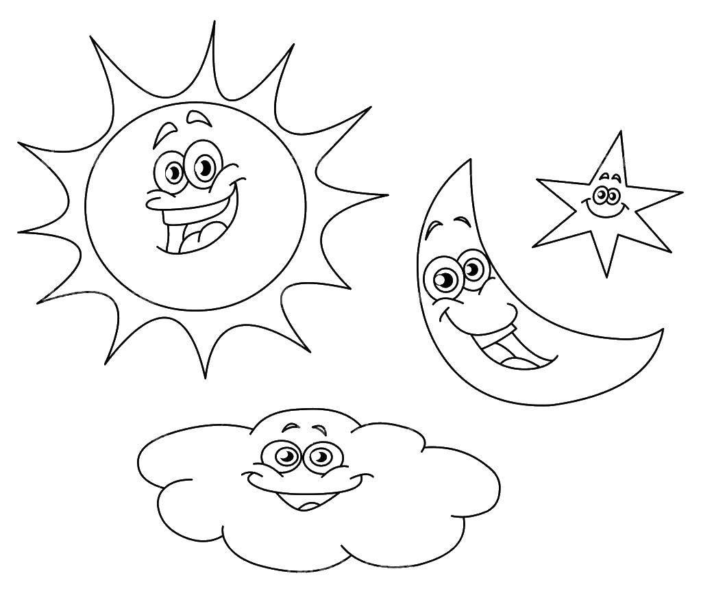 Раскраска Солнышко, облачко, полумесяц, звездочка Скачать ,Ночь, месяц, звезды,.  Распечатать