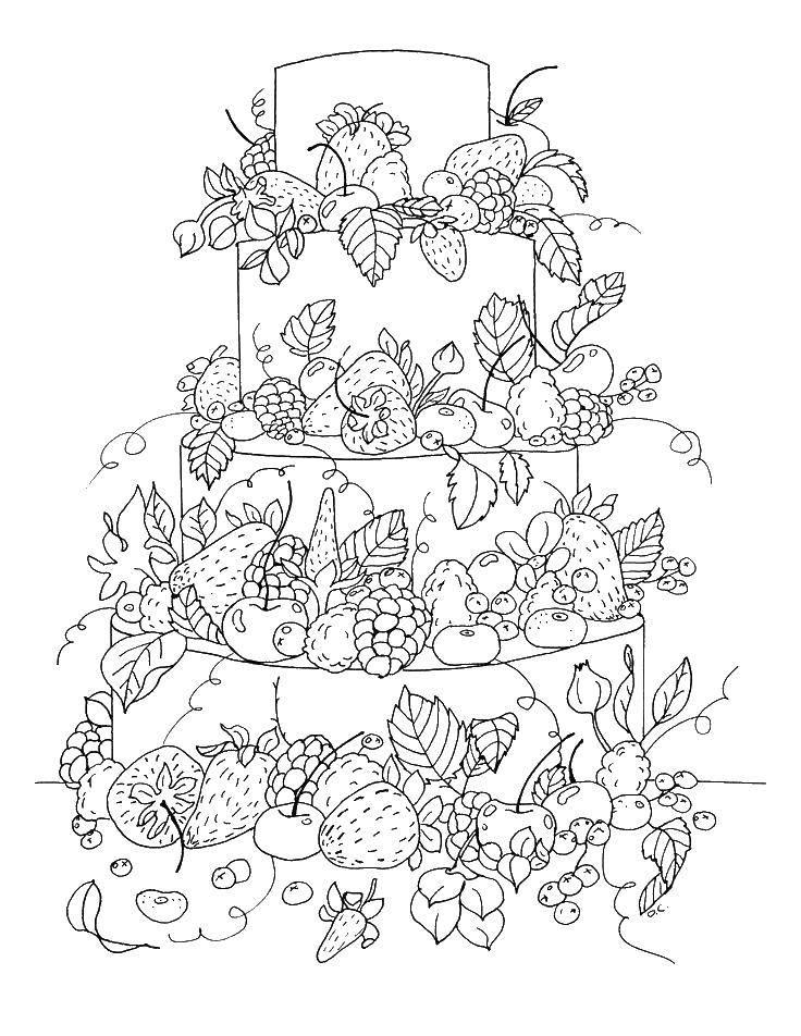 раскраски раскраска большой фруктовый торт торты скачать