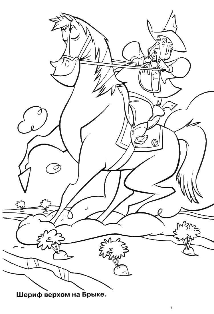 Раскраска Шериф верхов на бырке. Скачать Брык, конь.  Распечатать ,Диснеевские мультфильмы,
