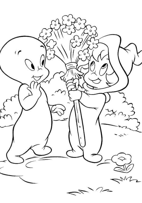 Раскраска Каспер с подружкой Скачать Дисней, Каспер.  Распечатать ,Приведение Каспер,