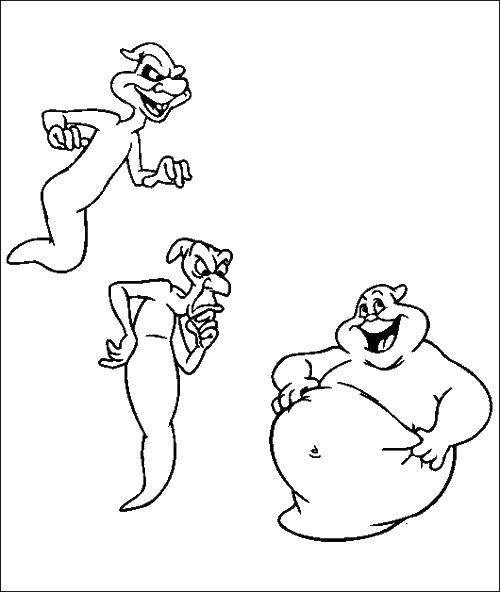 Раскраска Мультфильм каспер Скачать Каспер, приведение.  Распечатать ,Приведение Каспер,