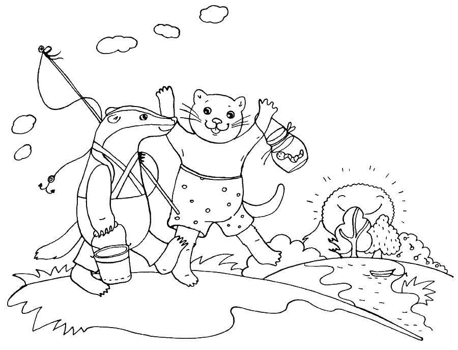 Раскраска Борсук идет на рыбалку Скачать рыбалка, борсук.  Распечатать ,рыбалка,