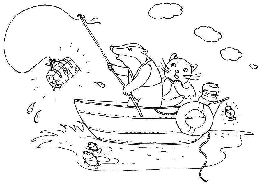 Раскраска Борсук поймал сундук Скачать рыбалка, борсук.  Распечатать ,рыбалка,