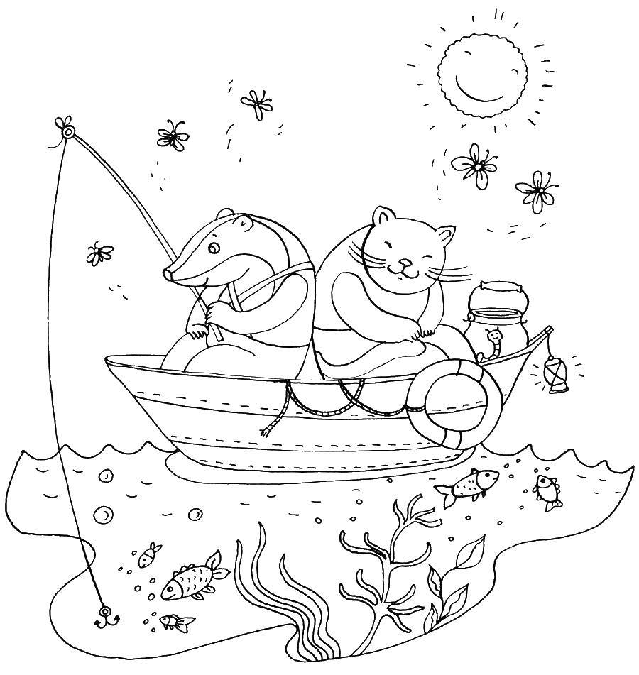 Раскраска Борсук рыбачит Скачать борсук, рыбалка.  Распечатать ,рыбалка,