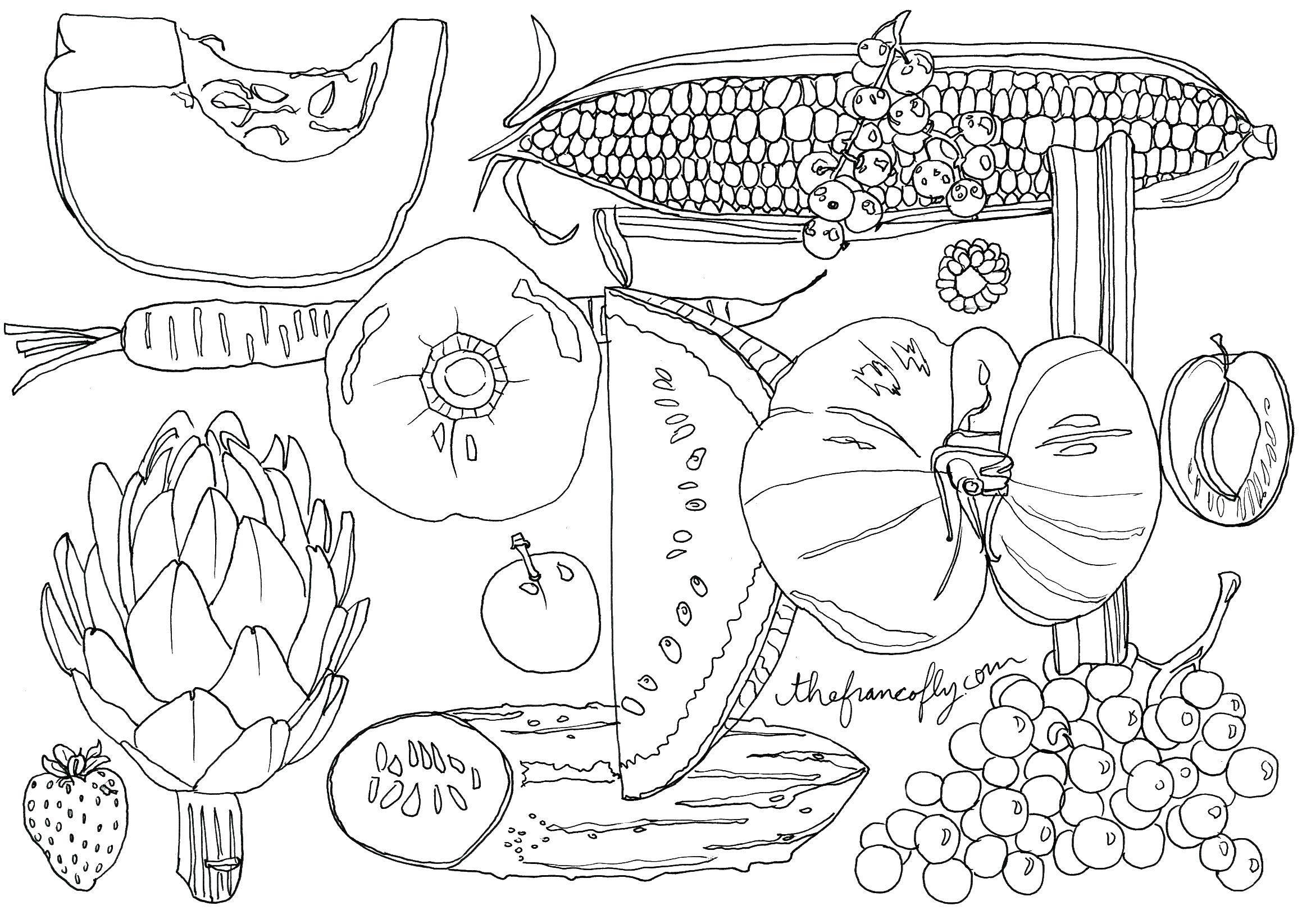 Раскраска Фрукты, ягоды, овощи Скачать еда, овощи, фрукты, ягоды.  Распечатать ,Еда,