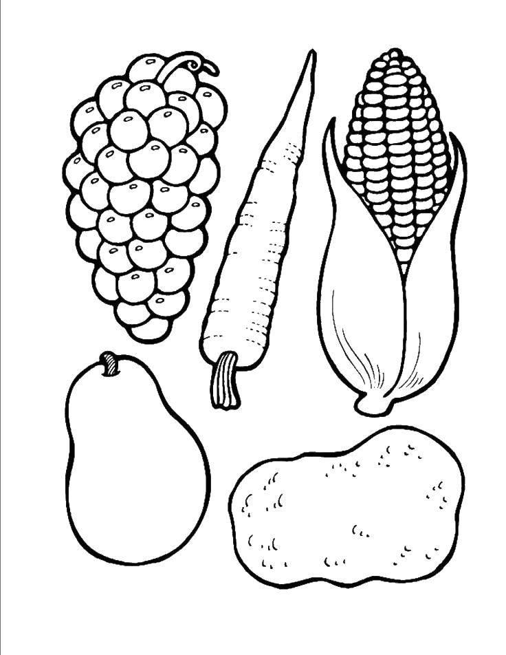 Раскраска Овощи, фрукты, ягоды Скачать еда.  Распечатать ,Еда,