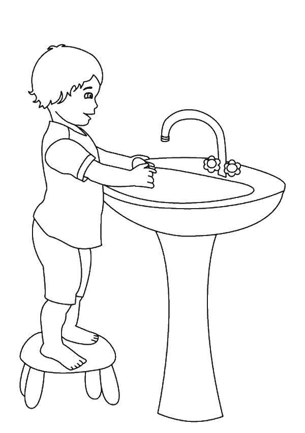 Раскраска Мальчик моет руки Скачать мальчик, руки.  Распечатать ,Умываемся,