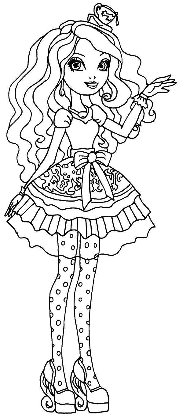 Раскраска Меделин хеттер дочь безумного шляпника Скачать эвер афтер хай, Меделин, .  Распечатать ,эвер афтер хай,