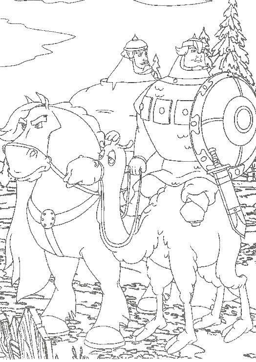 Раскраска Богатыри Скачать сказка, Шамаханская царица, мультфильмы, богатыри.  Распечатать ,шамаханская царица,