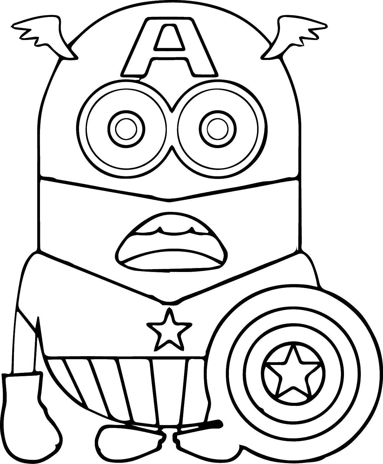 Раскраска миньоны Скачать ,Персонаж из мультфильма, Миньоны,.  Распечатать