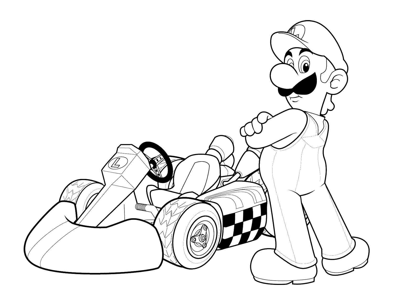 Раскраска Супер марио на гоночной машине Скачать Супер Марио.  Распечатать ,Персонаж из игры,