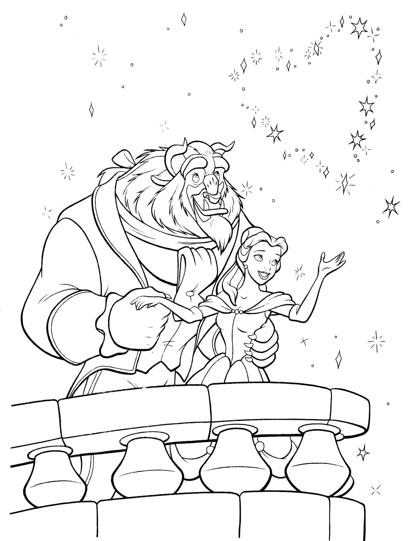 Раскраска Красавица белл и чудовище смотрят на салют Скачать ,салют, Красавица Белл, чудовище,.  Распечатать