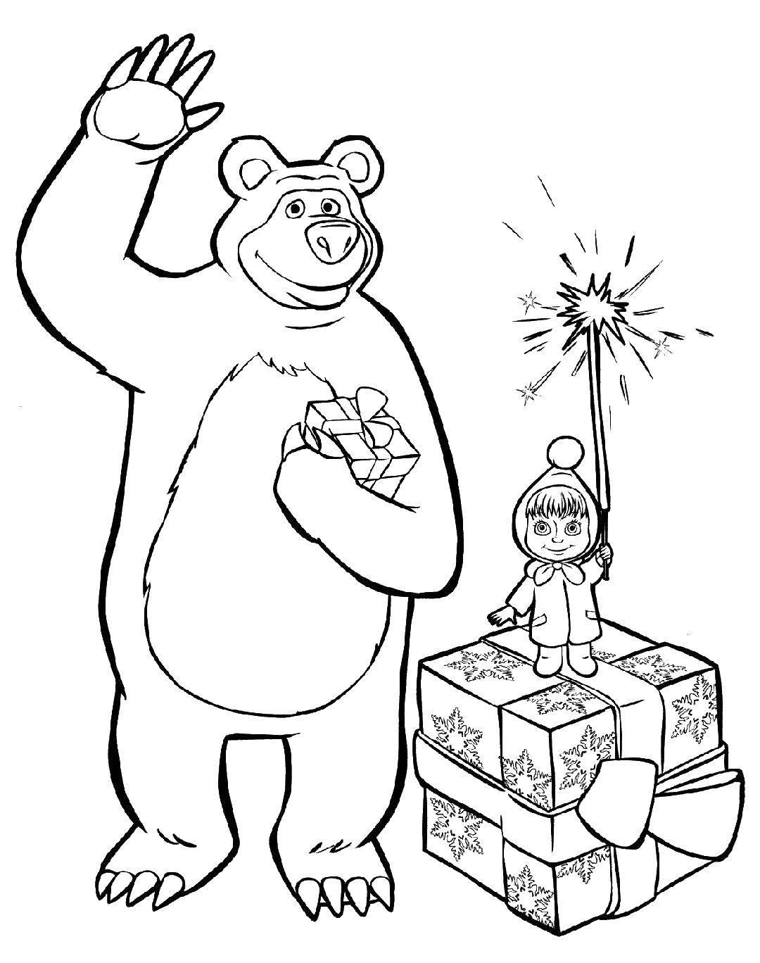 Раскраска фейерверк Скачать ,Персонаж из мультфильма, Маша и Медведь,.  Распечатать