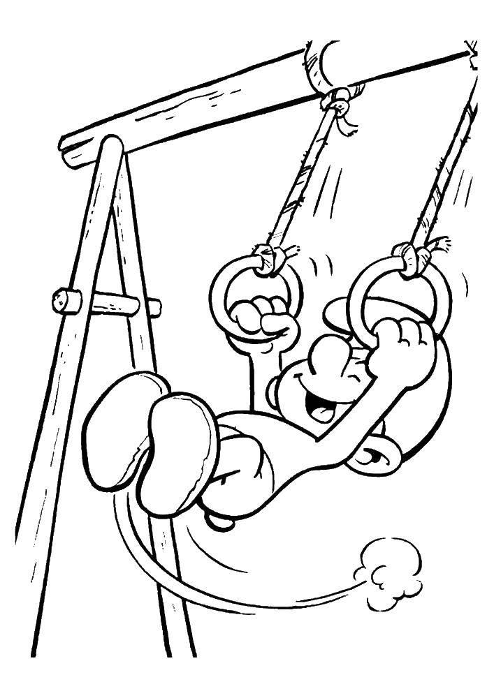 Раскраска Смурфики Скачать гимнастика, гимнастка, бревно, спорт.  Распечатать ,гимнастика,