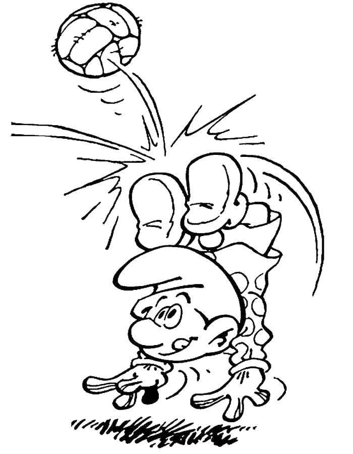 Раскраска Смурфики Скачать ,Персонаж из мультфильма, Смурфики, веселье,.  Распечатать