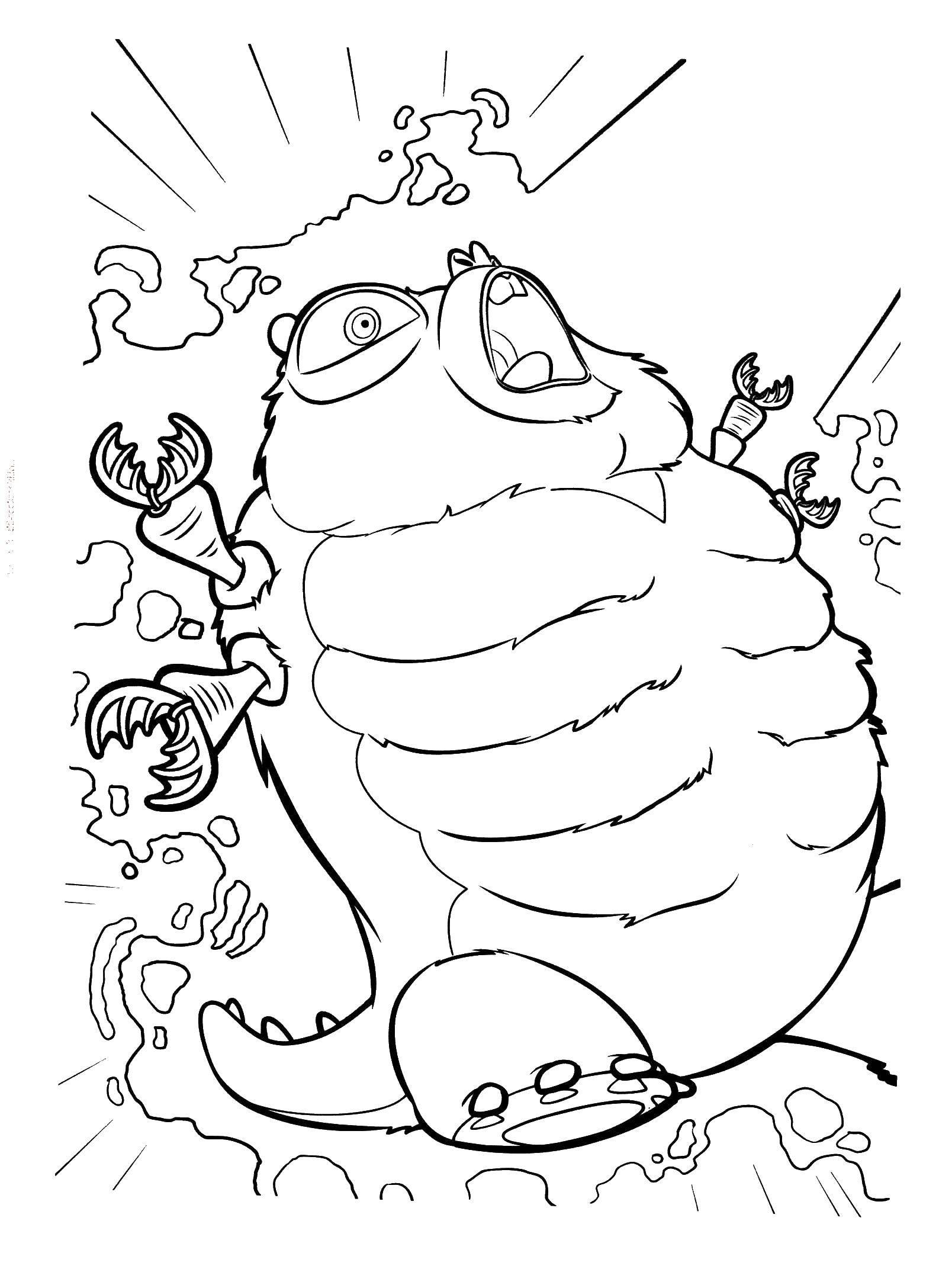 Раскраска Ядерная радиация превратила гусеницу в стометрового монстра Скачать Монстры, Пришельцы, гусеница.  Распечатать ,Монстры против Пришельцев,