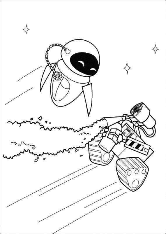 Раскраска Валли и ева летают в космосе Скачать ,Валли, Ева, робот,.  Распечатать