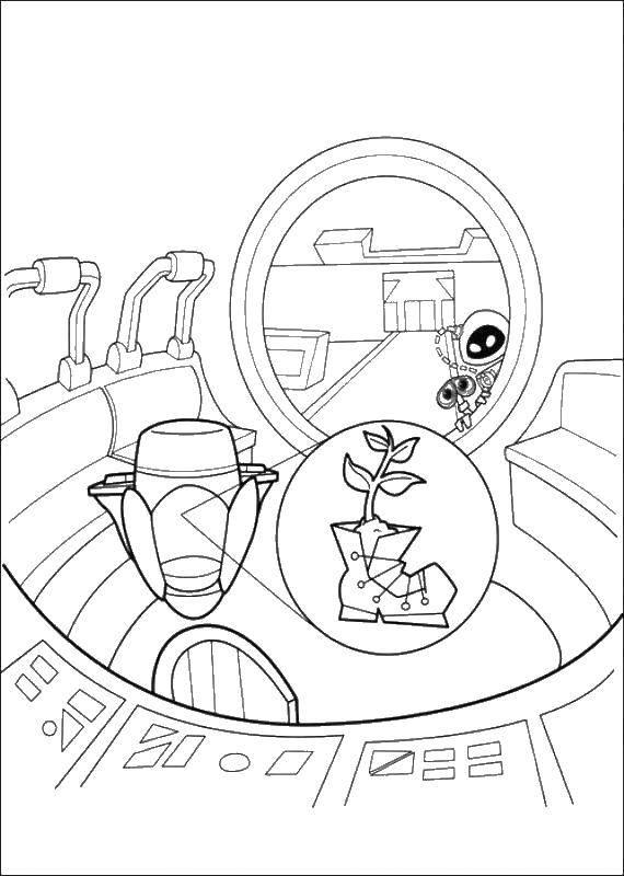 Раскраска Валли и ева нашли растение Скачать ,Валли, Ева, робот,.  Распечатать