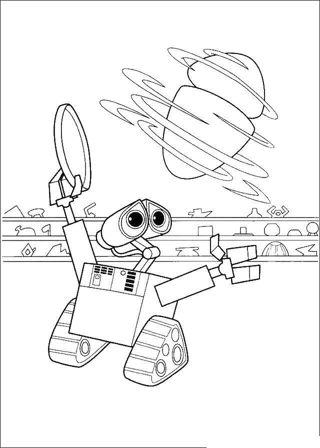 Раскраска Валли и ева Скачать Валли, Ева, робот.  Распечатать ,ВАЛЛ И,
