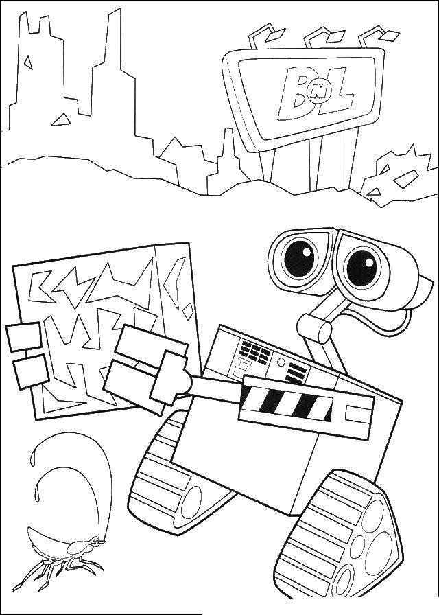 Раскраска Валли робот уборщик Скачать Валли, Ева, робот.  Распечатать ,ВАЛЛ И,