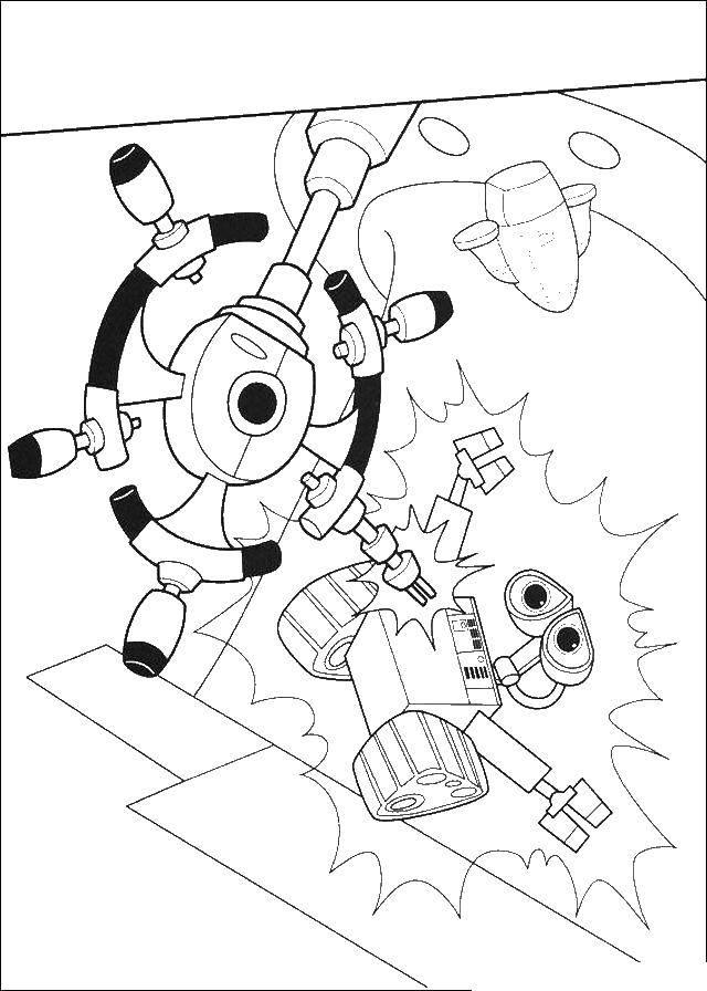 Раскраска Валли за штурвалом Скачать Валли, Ева, робот.  Распечатать ,ВАЛЛ И,