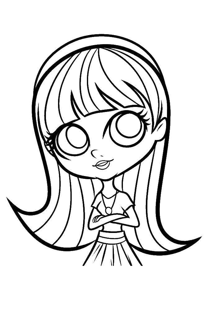 Раскраска Девочка с большими глазами Скачать девочка, платье, глаза.  Распечатать ,мой маленький зоомаганиз,