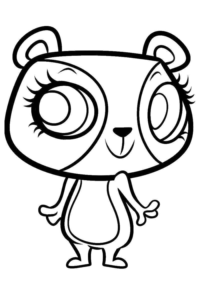 Раскраска Игрушка с большими глазами Скачать игрушка, глаза, магазин.  Распечатать ,мой маленький зоомаганиз,
