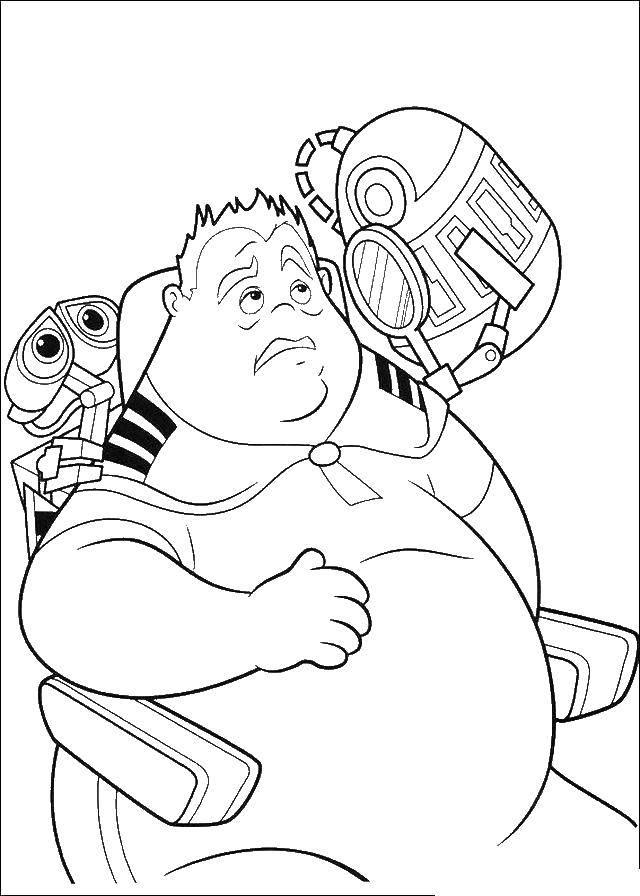 Раскраска Валли и толстый человек Скачать Валли, робот, мужчина.  Распечатать ,ВАЛЛ И,